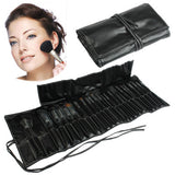 Professional 24pcs Goat Hair Makeup Brush Set Beauty Kit Cosmetic + PU Leather Carrying Case(Black)