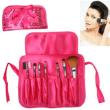 Foldable Manual Sequin Style Cosmetic Brush Case Bag Kit Set 7pcs Brushes Facial Care Product(Magenta)