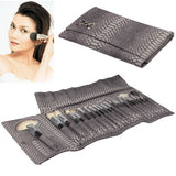 Professional 24pcs Makeup Brush Set Beauty Kit Cosmetic + Snakeskin Pattern PU Leather Carrying Case(Grey)