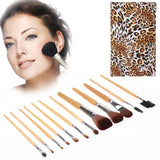 Foldable Trendy Panther Patterned Cosmetic Brush Case Bag Kit Set for Ladies / 12pcs Brushes Facial Care Product