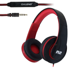 OVLENG A2 Universal Hands-Free Stereo Headset with Mic for All Audio Devices Cable Length: 1.2m (Black + Red)