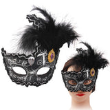 Flat Crack Design Painting Side Diamond Ostrich Feather Masks(Black)