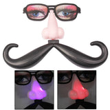 Funny Decoration Glasses with Colorful LED Light Nose & Vibrissa Halloween Props
