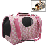 Grid Pattern Travel Totes Dog Carrier BagsMiddle Size: 42 x 21 x 30cm(Pink)