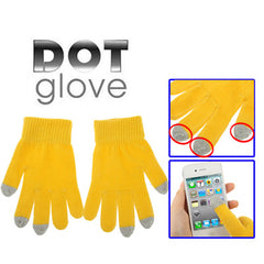 Dot Gloves of Touch Screen for iPhone 5 iPhone 4 & 4S / iPad / iPod Touch BlackBerry HTC and other Touch Screen Mobile Phones(Yellow)