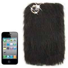 Diamond Encrusted Winter Warm Fur Plastic Case for iPhone 4 & 4S (Black)