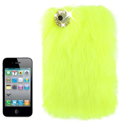 Diamond Encrusted Winter Warm Fur Plastic Case for iPhone 4 & 4S (Flurescent Green)