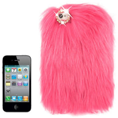 Diamond Encrusted Winter Warm Fur Plastic Case for iPhone 4 & 4S (Magenta)