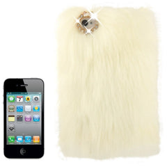 Diamond Encrusted Winter Warm Fur Plastic Case for iPhone 4 & 4S (White)