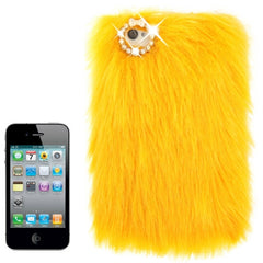 Diamond Encrusted Winter Warm Fur Plastic Case for iPhone 4 & 4S (Yellow)