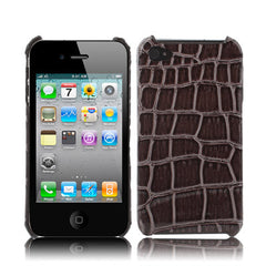Crocodile Skin Style Plastic Case for iPhone 4 & 4S / iPhone 4 (CDMA) Coffee