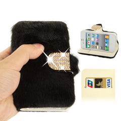 Diamond Encrusted Winter Warm Fur Leather Case with Credit Card Slot & Holder for iPhone 4 & 4S (Black)