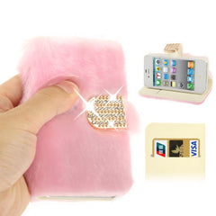 Diamond Encrusted Winter Warm Fur Leather Case with Credit Card Slot & Holder for iPhone 4 & 4S (Pink)