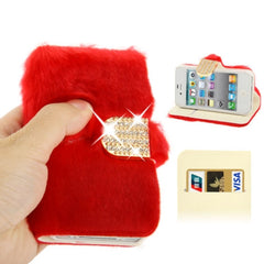 Diamond Encrusted Winter Warm Fur Leather Case with Credit Card Slot & Holder for iPhone 4 & 4S (Red)