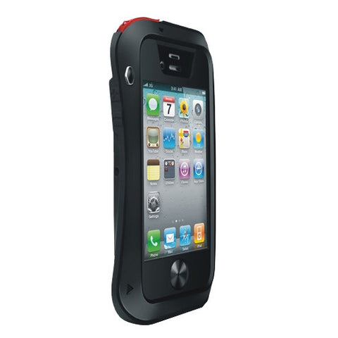 LOVE MEI Metal Ultra-thin Small Waist Waterproof Dustproof Shockproof Powerful Protective Case for iPhone 4 & 4S(Black)