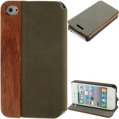 Cherry  Wood Magnet Patch Frosting Horizontal Flip Leather Case with Holder for iPhone 4 & 4S