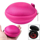Grid Style Carrying Bag Box for Headphone / Earphone (Magenta)