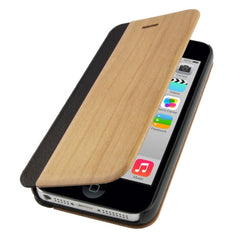 Cherry Wood and Magnetic Materials Horizontal Flip Leather Case for iPhone 5C