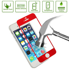 Link Dream 0.33mm Explosion-proof Tempered Glass Film Screen Protector + Mobile Phone Holder for iPhone 5 & 5S(Red)