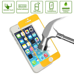 Link Dream 0.33mm Explosion-proof Tempered Glass Film Screen Protector + Mobile Phone Holder for iPhone 5 & 5S(Yellow)