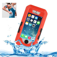 Bicycle Waterproof Case with Wrist Strap and Lanyard for iPhone 5 & 5s & SE(Red)