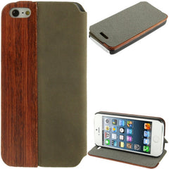 Cherry  Wood Magnet Patch Frosting Horizontal Flip Leather Case with Holder for iPhone 5 & 5s & SE & SE