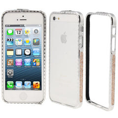 Diamond Encrusted Detachable Metal Silver Bumper Frame for iPhone 5 & 5s & SE (Coffee Diamond)