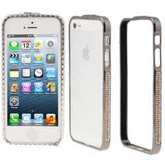 Diamond Encrusted Detachable Metal Black Bumper Frame for iPhone 5 & 5s & SE (Coffee Diamond)