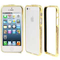 Diamond Encrusted Removable Metal Golden Bumper Frame for iPhone 5 & 5s & SE (Coffee)
