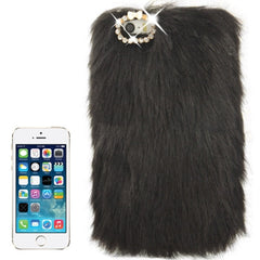 Diamond Encrusted Winter Warm Fur Plastic Case for iPhone 5 & 5s & SE (Black)