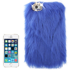 Diamond Encrusted Winter Warm Fur Plastic Case for iPhone 5 & 5s & SE (Dark Blue)