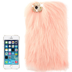 Diamond Encrusted Winter Warm Fur Plastic Case for iPhone 5 & 5s & SE (Pink)