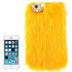 Diamond Encrusted Winter Warm Fur Plastic Case for iPhone 5 & 5s & SE (Yellow)