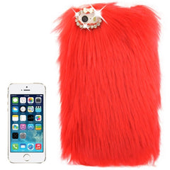Diamond Encrusted Winter Warm Fur Plastic Case for iPhone 5 & 5s & SE (Red)