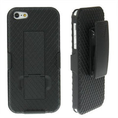 Belt Clip with 180 Degrees Rotates Holster Plaid Texture Frosted Plastic Case + Stand for iPhone 5 & 5s & SE (Black)