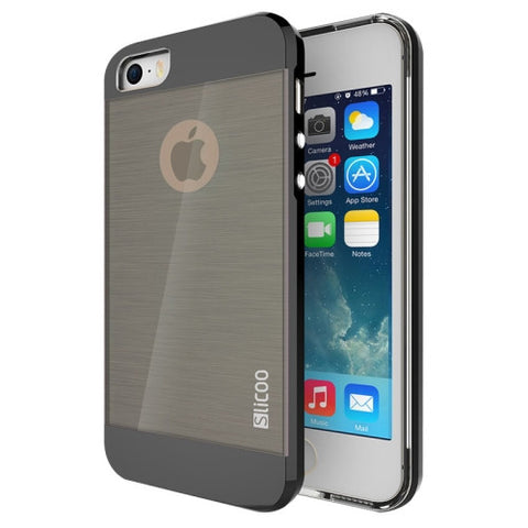 Slicoo Brushed Texture Electroplating Combination Case for iPhone 5S(Black)