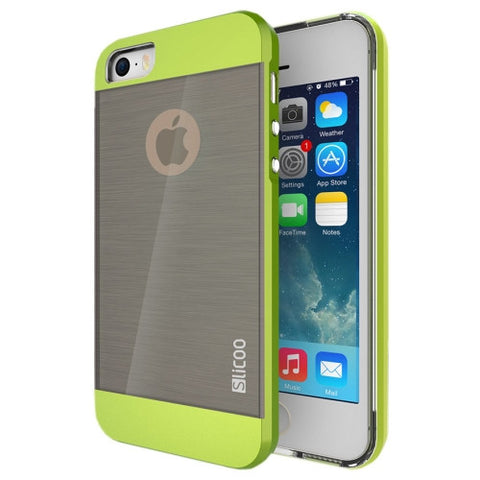 Slicoo Brushed Texture Electroplating Combination Case for iPhone 5S(Green)