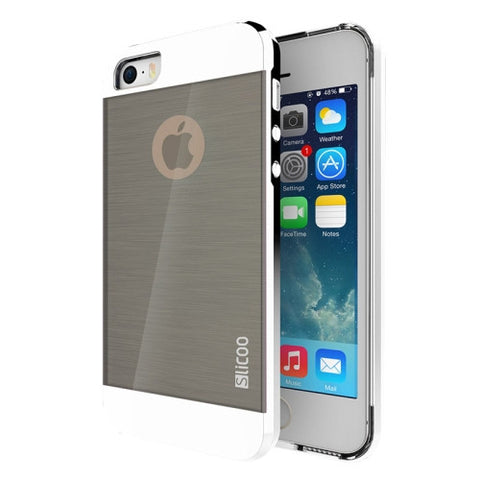 Slicoo Brushed Texture Electroplating Combination Case for iPhone 5S(Silver)