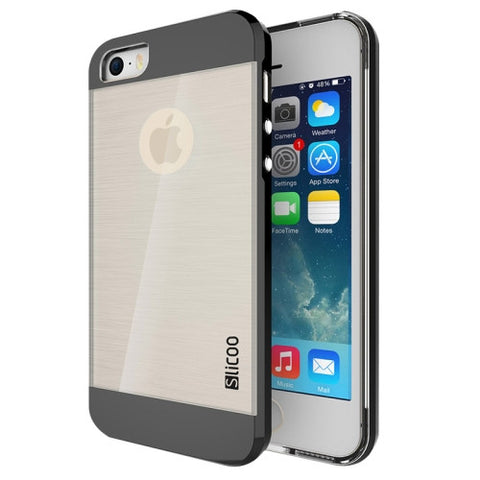 Slicoo Brushed Texture Electroplating Transparent Combination Case for iPhone 5S(Black)