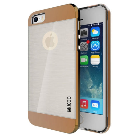 Slicoo Brushed Texture Electroplating Transparent Combination Case for iPhone 5S(Coffee)