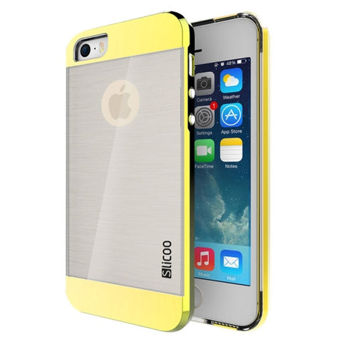 Slicoo Brushed Texture Electroplating Transparent Combination Case for iPhone 5S(Gold)