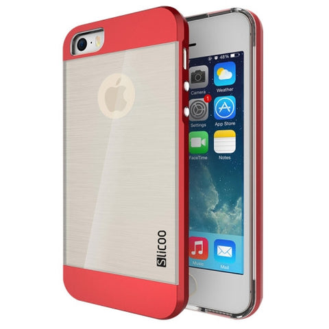 Slicoo Brushed Texture Electroplating Transparent Combination Case for iPhone 5S(Red)