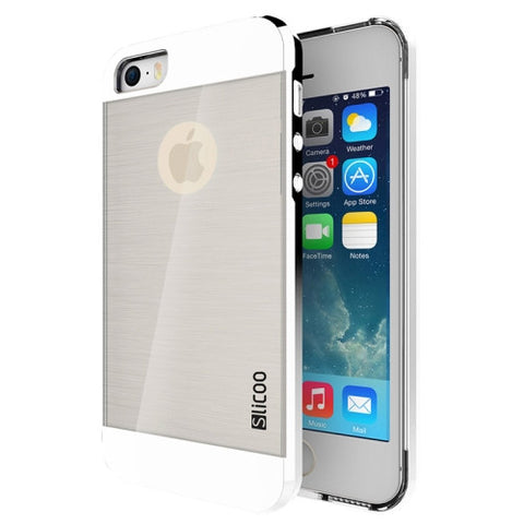 Slicoo Brushed Texture Electroplating Transparent Combination Case for iPhone 5S(Silver)