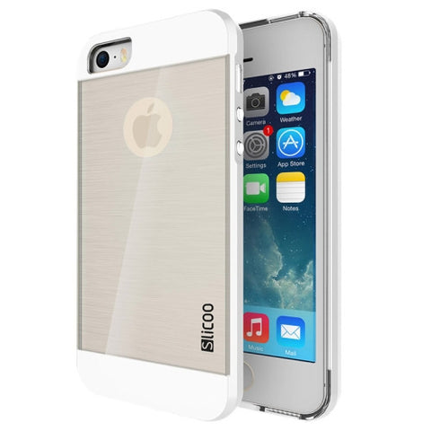 Slicoo Brushed Texture Electroplating Transparent Combination Case for iPhone 5S(White)