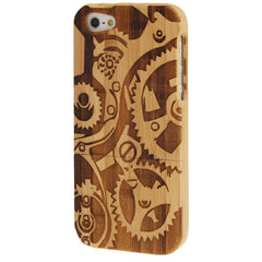 Gearwheel Woodcarving Pattern Detachable Bamboo Material Case for iPhone 5