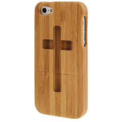 Cross Woodcarving Pattern Detachable Bamboo Material Case for iPhone 5
