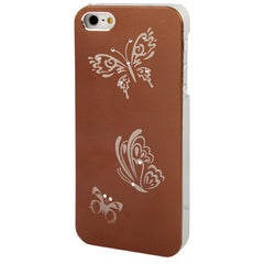 Butterfly Pattern Silver Plating Plastic Case for iPhone 5 & 5s & SE  (Coffee)