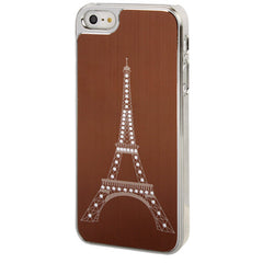 Eiffel Tower Pattern Silver Plating Plastic Case for iPhone 5 & 5s & SE  (Coffee)