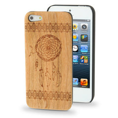 Dream Catcher Woodcarving Pattern Cherry Material Paste Plastic Case for iPhone 5