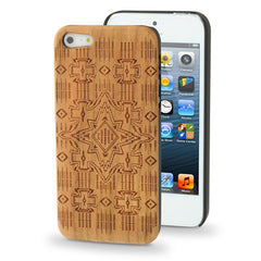 Cross Woodcarving Pattern Cherry Material Paste Plastic Case for iPhone 5
